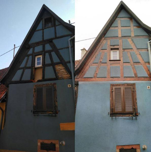 Rénovation du pignon sur la maison Alsacienne à colombage