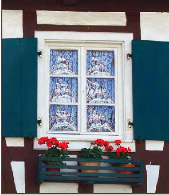 Une spécificité locale, le verre bombé des fenêtres de Hunspach