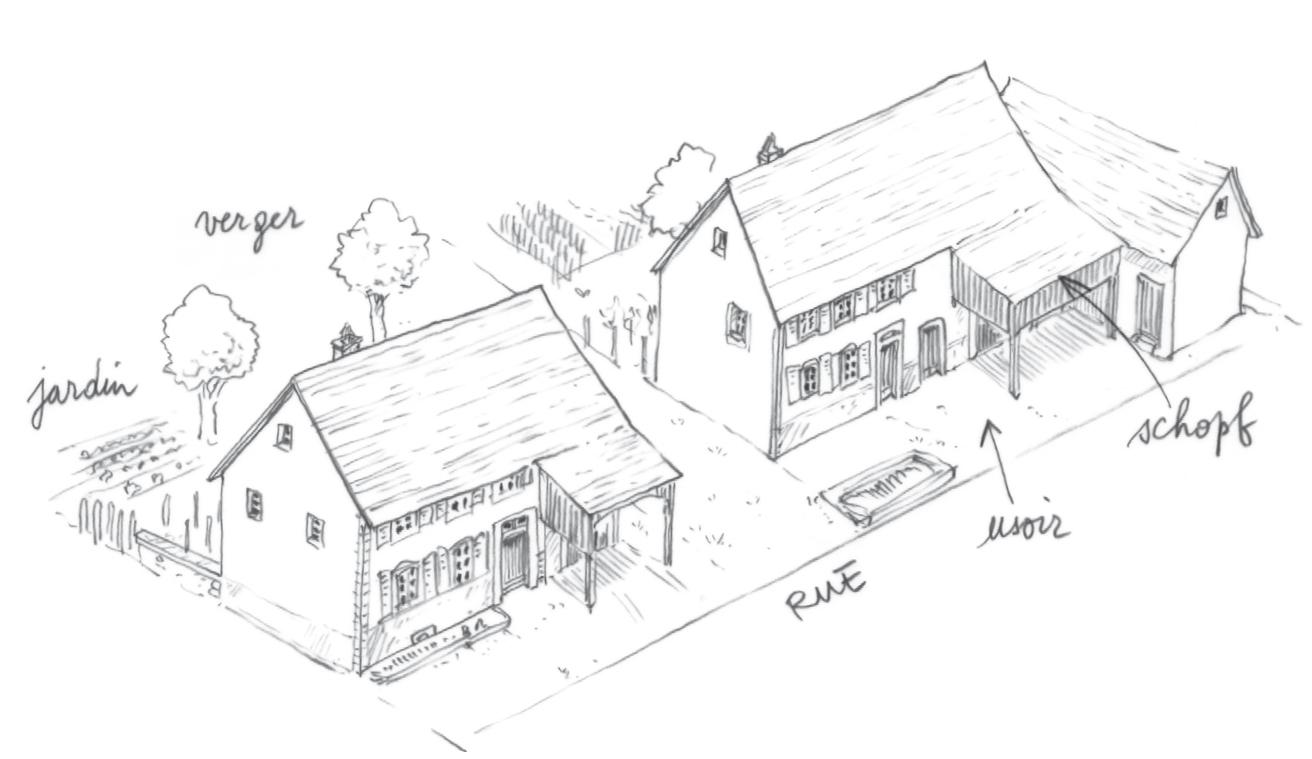 Maison bloc habitat et grange plateau lorrain en calcaire for Croquis d une maison