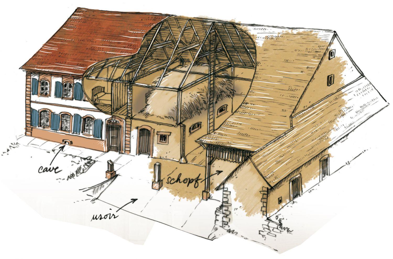 maison bloc habitat et grange plateau lorrain en calcaire ou gr s pour alsace bossue avec schopf. Black Bedroom Furniture Sets. Home Design Ideas