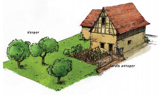 Les espaces plantés autour de la maison ancienne