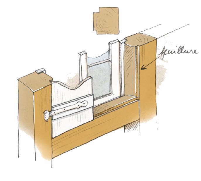 schéma de principe d'integration des menuiseries dans un encadrement en bois
