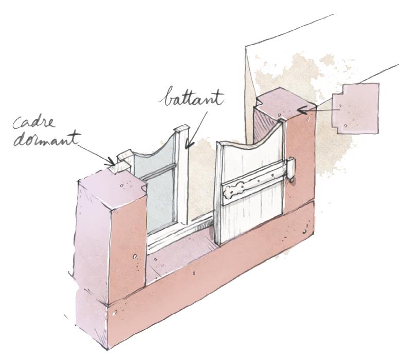 schéma de principe d'integration des menuiseries dans un encadrement en grès